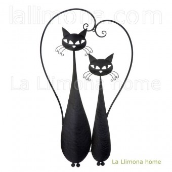 Gatos negros metal pared 76