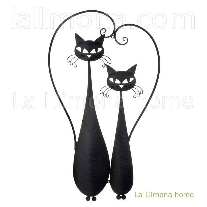 Decoración. Gatos negros metal pared 76