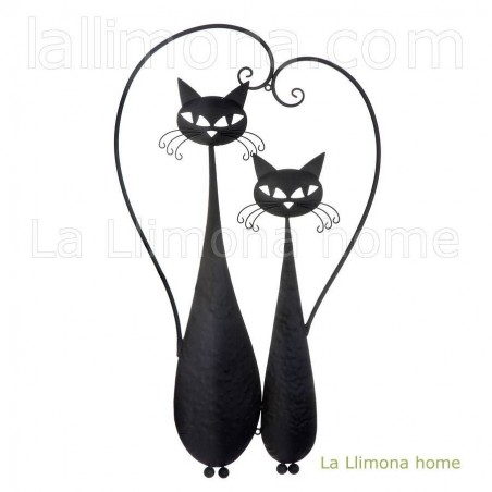 Gatos negros para pared de metal. Alto: 76 cms. Ancho: 44 cms.