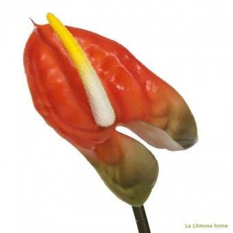 Flor anthurium naranja artificial 40