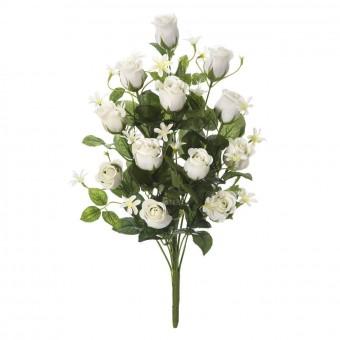 Ramo flores artificiales rosas blancas 51