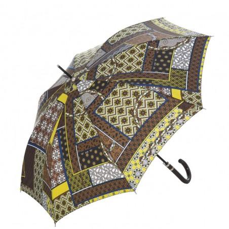 Paraguas MPpatchwork color chocolate automático para mujer. Alto: 89 cms. Diámetro abierto: 107 cms.