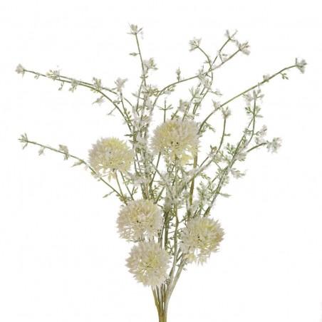 Rama silvestre flores allium blancas artificial. Alto: 48 cms.Diámetro: 12 - 18 cms.