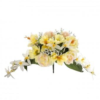 Ramo flores artificiales hibiscus y cosmos amarillas