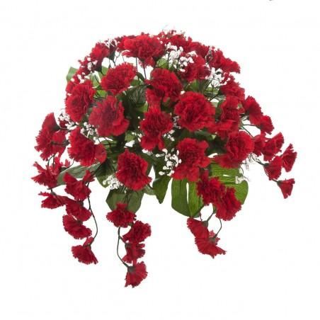 Ramo artificial claveles rojos y gypsophila.Alto: 40 cms. Largo: 55 cms.