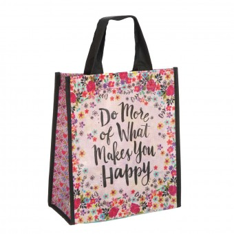 Natural Life bolsa compras mediana 'Do more of what makes you happy' reutilizable