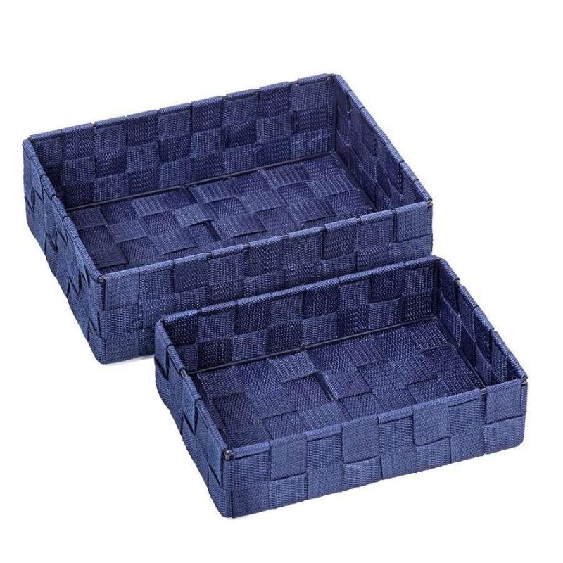 Accesorios de baño. Panera baño zinia azul set 2 rectangular