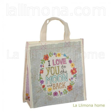 Bolsa Natural Life compras small 'I love you to the moon and back' reutilizable. Alto: 32 cms. Largo: 24 cms. Ancho:...