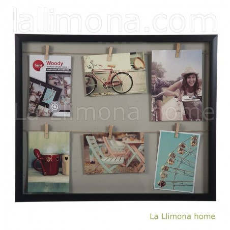 Marco portafotos multiple vitrine woody de pared negro multi medida 6 fotos. Alto: 41.50 cms. Ancho: 50 cms.