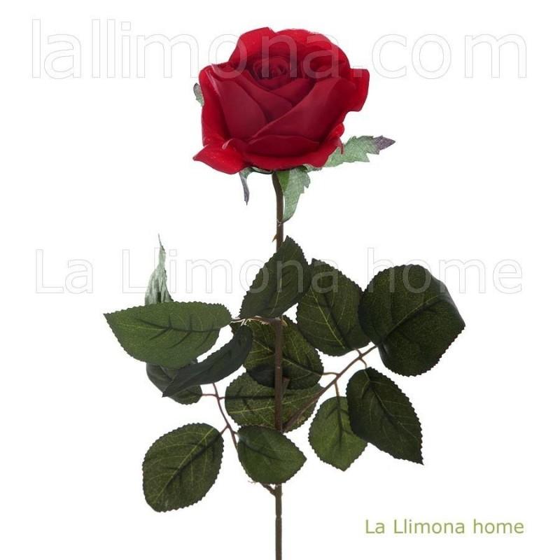 Flor rosa artificial roja abierta · Flores artificiales