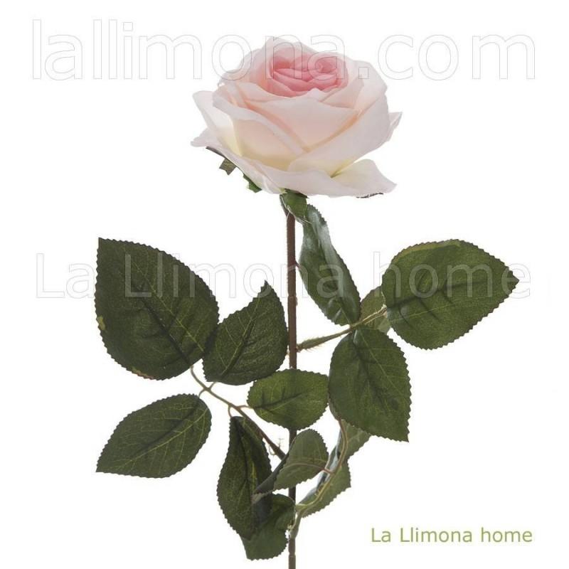 Flor rosa artificial rosada abierta · Flores artificiales