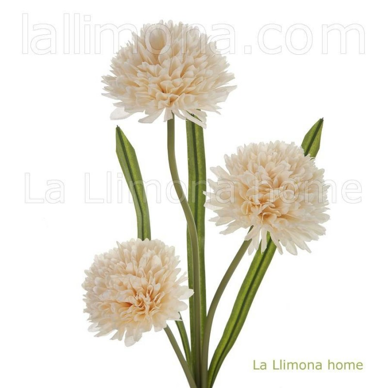 Rama allium artificial vainilla 3 flores · Flores artificiales