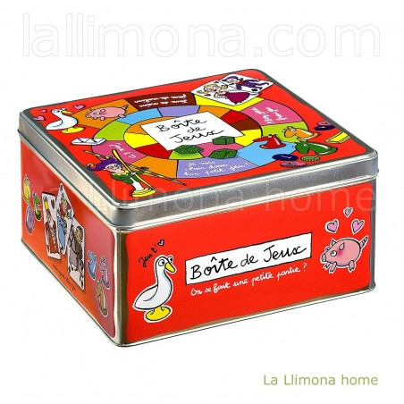 Caja metálica 'Jeux'. Alto: 13 cms.