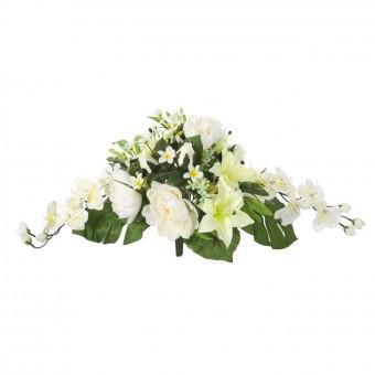 Ramo flores artificiales peonias liliums amarillo verde · Ramos cementerio flores artificiales