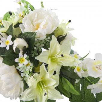 Ramo flores artificiales peonias liliums amarillo verde · Ramos cementerio flores artificiales 2 · La Llimona home