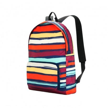 Mochila Reisenthel plegable mini maxi rucksack artist stripes. Medidas: 45 x 30 x 11 cms.