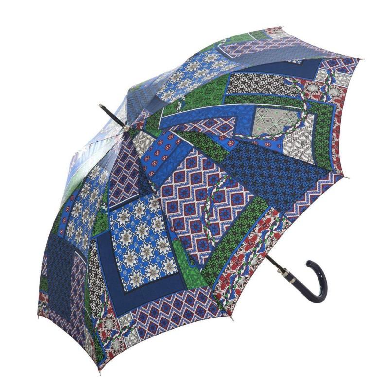 Paraguas MP patchwork mujer largo automático azul