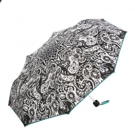 Paraguas Pertegaz cachemir turquesa manual para mujer. Alto plegado: 24 cms. Diámetro cerrado: 5 cms.