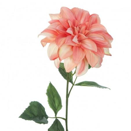 Flor artificial dalia salmón. Alto: 70 cms.