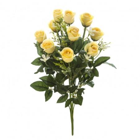 Ramo flores artificiales rosas amarillas. Alto: 42 cms. Diámetro: 24 cms.