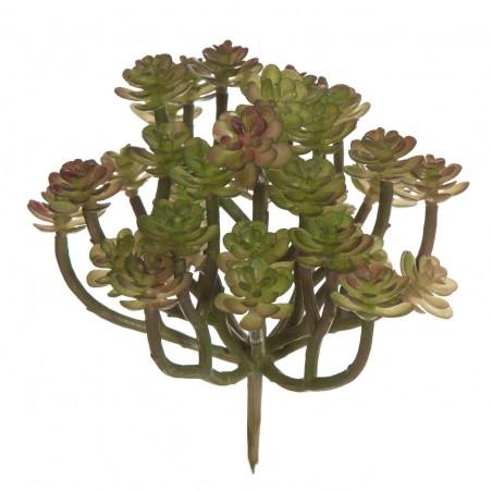 Planta artificial crasa suculenta tallos mini echeveria bicolor. Alto: 14 cms. Diámetro: 12 cms.