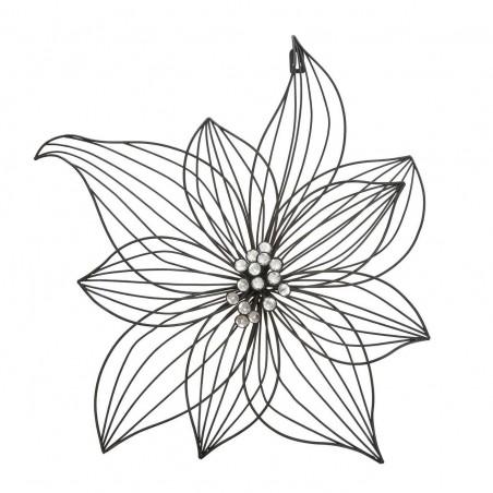Flor de forja para pared de color negro. Diámetro: 45 cms. Profundidad: 7 cms.