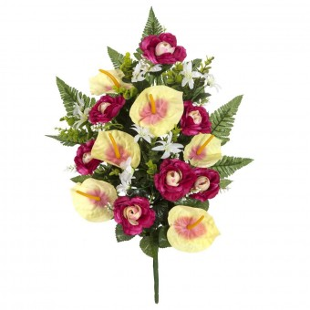 Ramo flores artificiales camelias y anthurium malva
