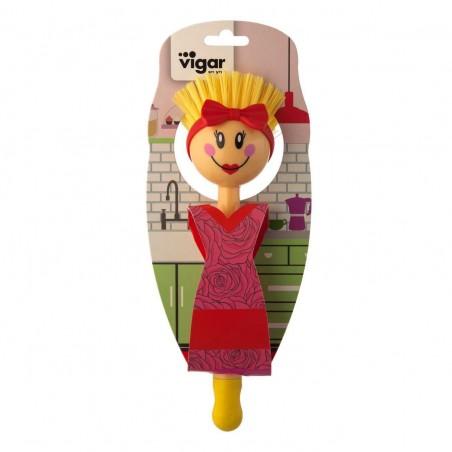Cepillo lavaplatos Dolls Beauties amarillo. Medidas: 22.50 x 7 x 7.50 cms.