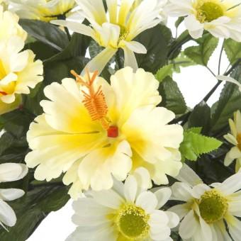 Ramo flores artificiales hibiscus y margaritas blancas · Ramos cementerio flores artificiales 4