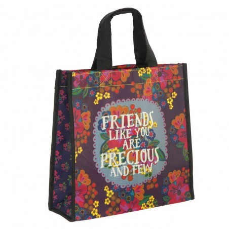 Bolsa Natural Life compras mediana 'Friends like you are precious and few' reutilizable. Alto total: 32 cms. Largo:...