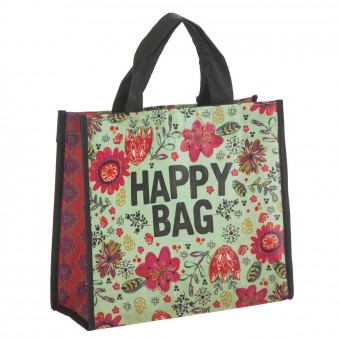 Natural Life bolsa compras mediana 'Happy bag' reutilizable verde · Natural Life
