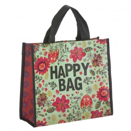 Bolsa Natural Life compras mediana 'Happy bag' verde reutilizable. Alto total: 28 cms. Largo: 24 cms. Ancho: 8 cms.