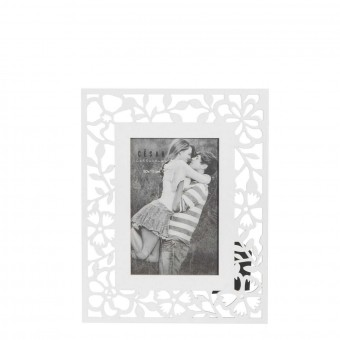 Portafotos calado flores madera 10x15 blanco · Marcos para fotos