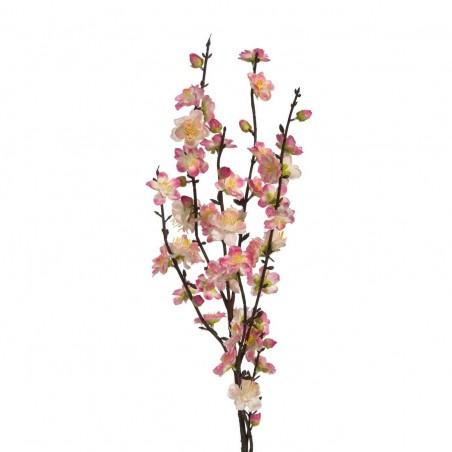 Rama con flores de almendro artificial color rosa. Alto: 112 cms.Ancho: 15 cms.