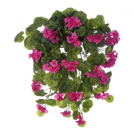 Planta colgante artificial geranios color cereza. Alto 60 cms. Ancho 35 - 45 cms.