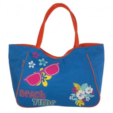 Bolsa de playa Beach Time con cremallera.Color azul claro.Medidas   62 x 52 x 25 cms.