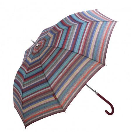Paraguas Bisseti líneas multicolor largo automático para mujer. Alto total 87 cms. Diámetro abierto 105 cms.