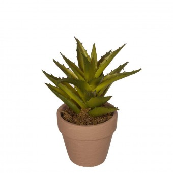 Planta crasa artificial aloe verde con maceta · Crasas y cactus artificiales
