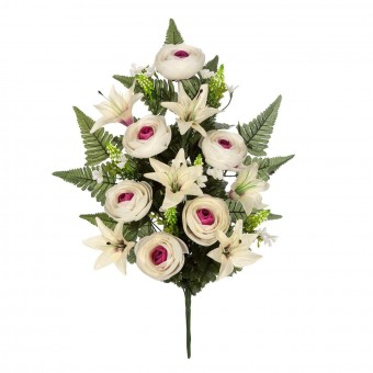 Ramo flores artificiales ranúnculos bicolor 59 · Ramos cementerio flores artificiales