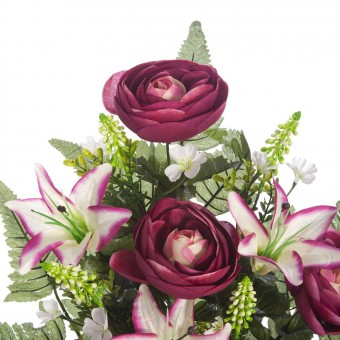 Ramo flores artificiales ranúnculos burdeos 59 · Ramos cementerio flores artificiales 2