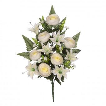 Ramo flores artificiales ranúnculos blancos 59 · Ramos cementerio flores artificiales
