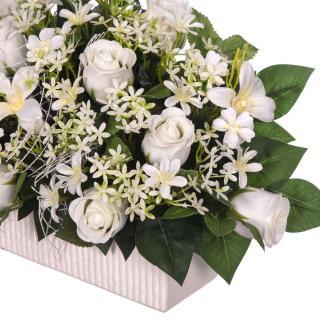 Jardinera cerámica rosas artificiales blancas con dendrobium 30 · Jardineras y centros flores artificiales cementerio 3