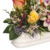 Ramos artificiales cementerios y jardineras Todos los Santos. Jardinera cerámica flores silvestres y rosas artificiales amarillas - Jardineras artificiales cementerio 1