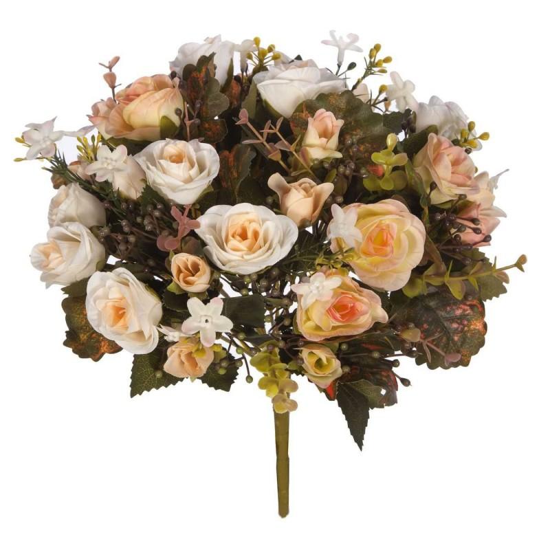 Ramo rosas artificiales salmón 34 - Ramos flores artificiales
