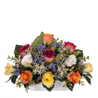 Jardinera cerámica rosas artificiales multicolor 19 · Jardineras y centros flores artificiales cementerio