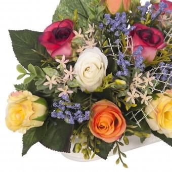 Jardinera cerámica rosas artificiales multicolor 19 · Jardineras y centros flores artificiales cementerio 3