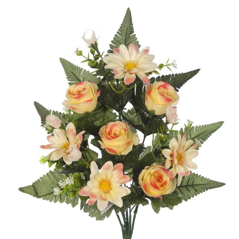 Ramo flores artificiales gerberas y rosas amarillas · Ramos cementerio flores artificiales · La Llimona home