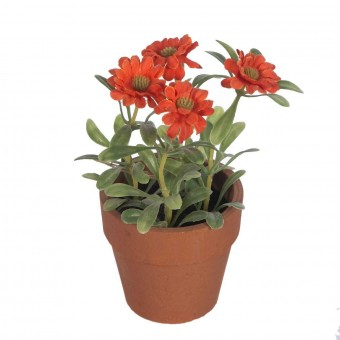 Planta margaritas artificiales mini naranja con maceta · Plantas artificiales · La Llimona home