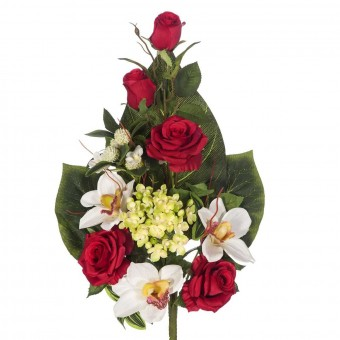 Ramo flores artificiales cymbidium y rosas rojas · Ramos cementerio flores artificiales
