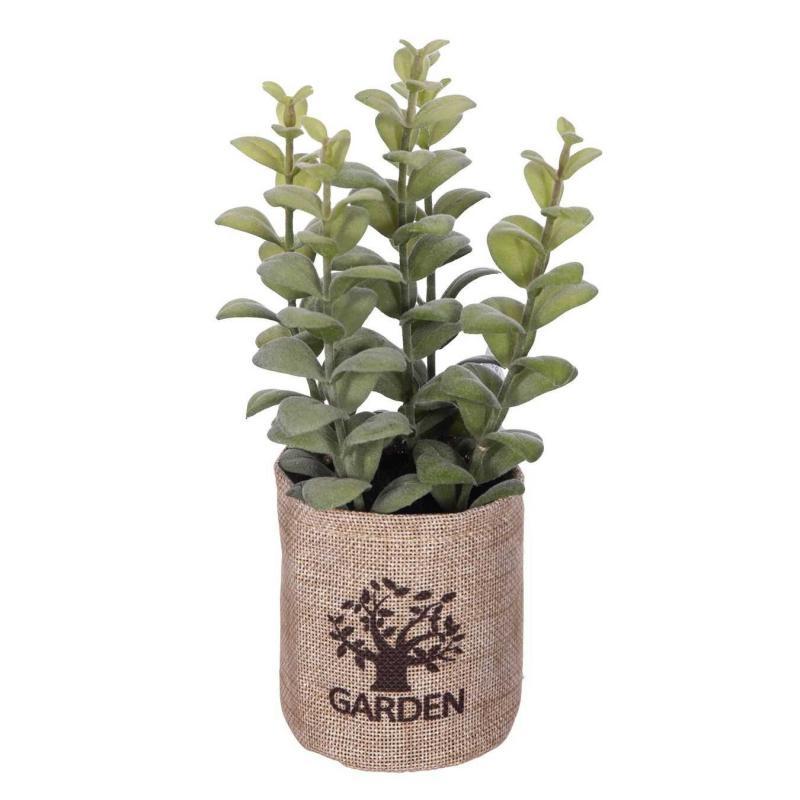 Planta aromática artificial albahaca con maceta saco · Plantas artificiales